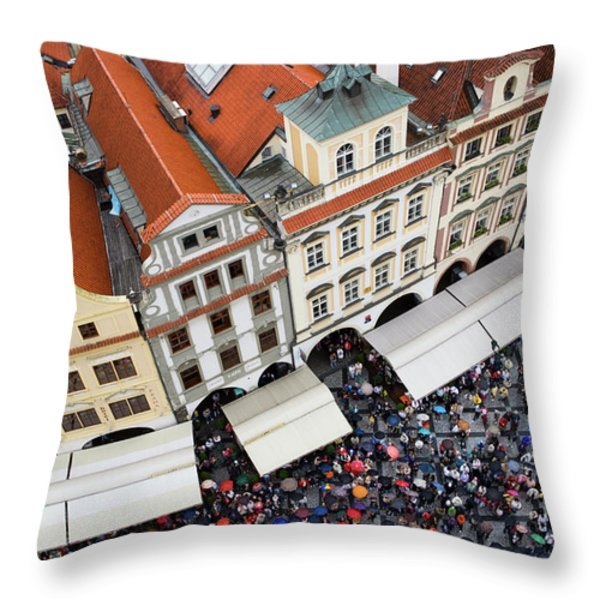 Rainy Day in Prague-2 Throw Pillow by Diane Macdonald