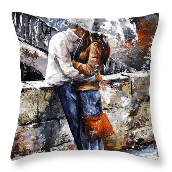 Rainy day - Love in the rain Throw Pillow by Emerico Imre Toth