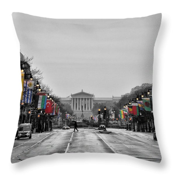 Rainy Day on the Parkway Throw Pillow by Bill Cannon