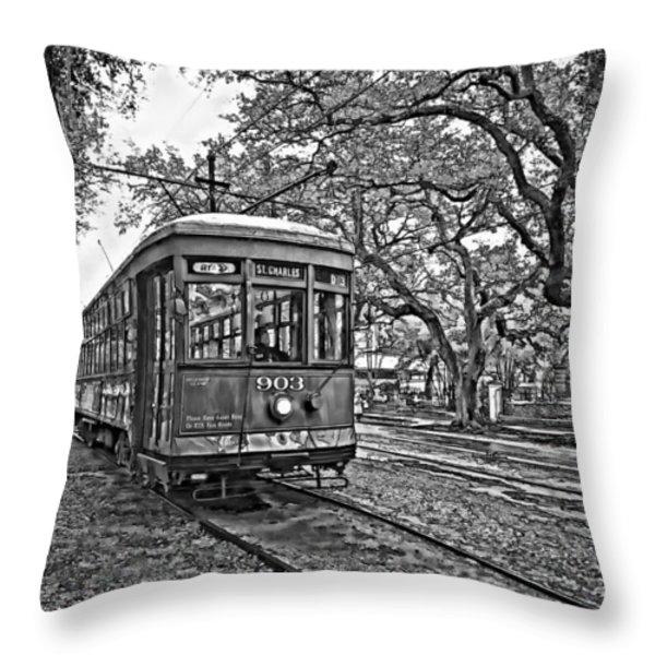 Rainy Day Ridin' monochrome Throw Pillow by Steve Harrington