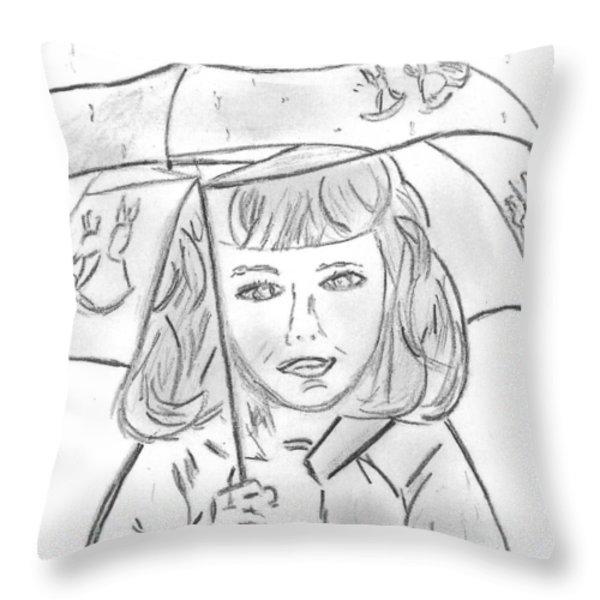 Rainy Day Smile Throw Pillow by Elizabeth Briggs