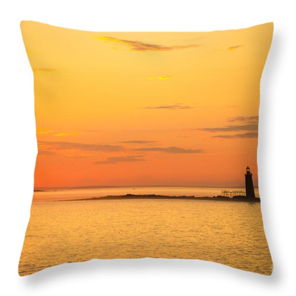 Ram Island Light Casco Bay Maine Throw Pillow by Diane Diederich