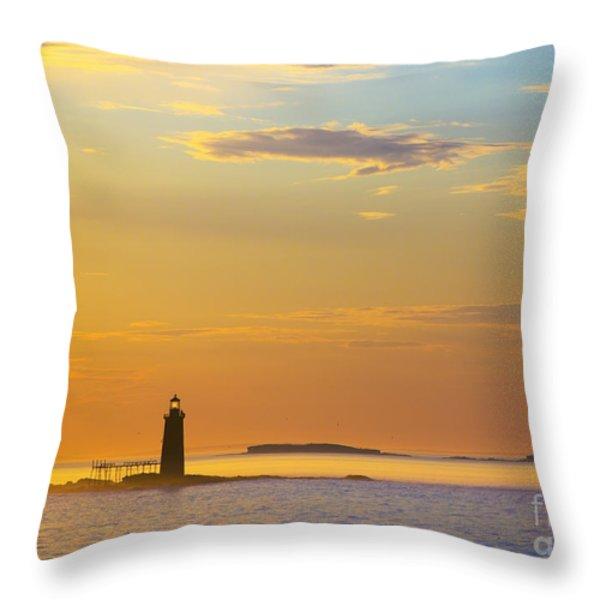 Ram Island Lighthouse Casco Bay Maine Throw Pillow by Diane Diederich