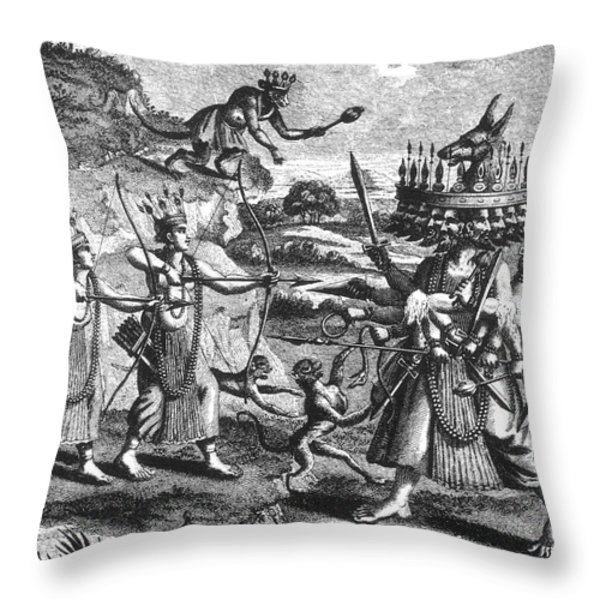 Rama, Seventh Avatar Of Vishnu Throw Pillow by Photo Researchers