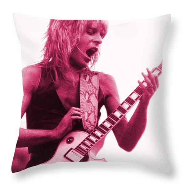 Randy Rhoads At Day On The Green In Oakland Ca Throw Pillow by Daniel Larsen