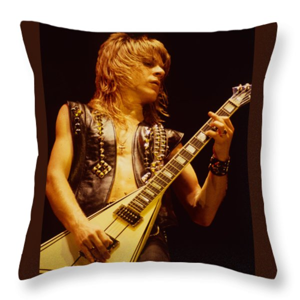 Randy Rhoads At The Cow Palace In San Francisco Throw Pillow by Daniel Larsen