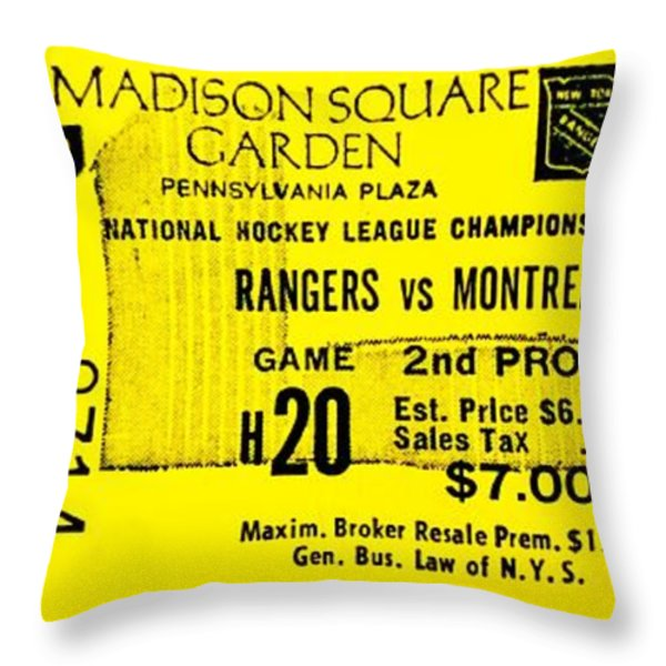 Rangers 6 Canadiens 5 Throw Pillow by Benjamin Yeager