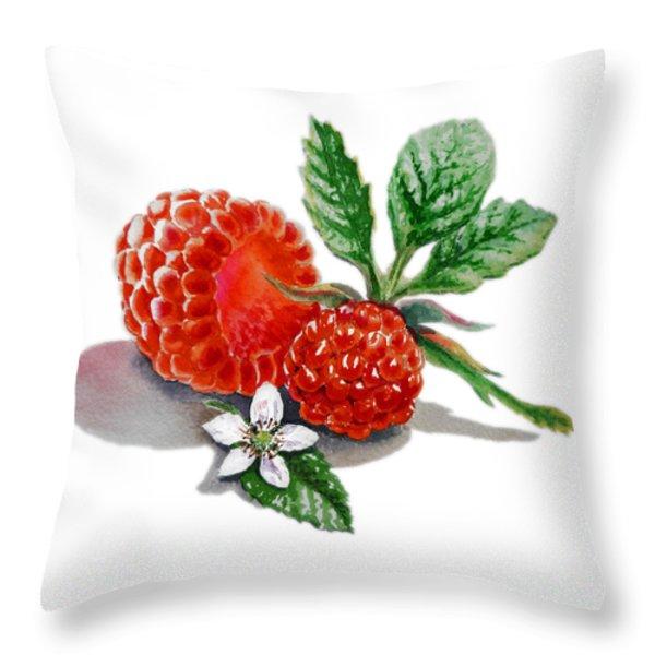 Raspberries  Throw Pillow by Irina Sztukowski