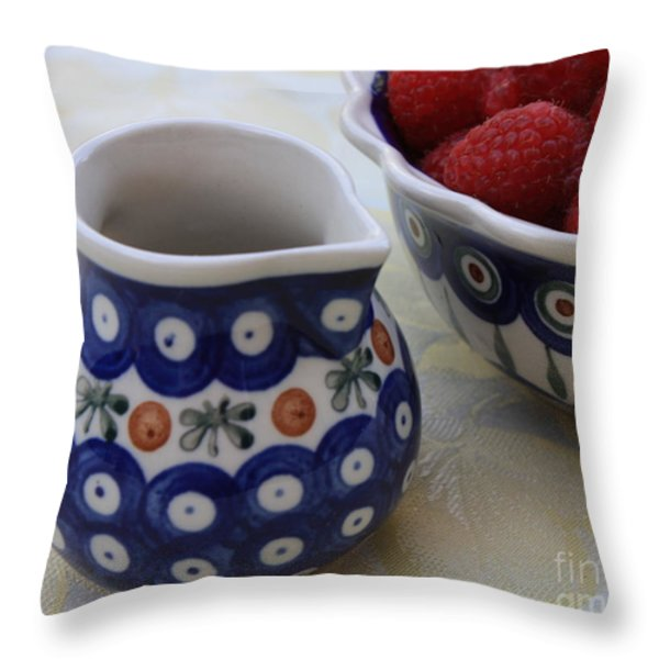 Raspberries with Cream Throw Pillow by Carol Groenen