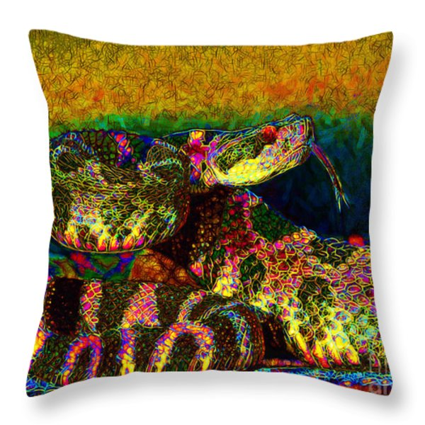 Rattlesnake 20130204p0 Throw Pillow by Wingsdomain Art and Photography