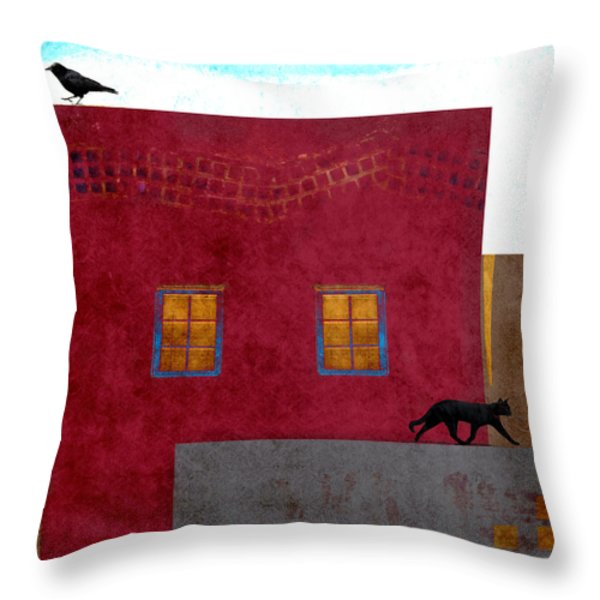 Raven And Cat Throw Pillow by Carol Leigh