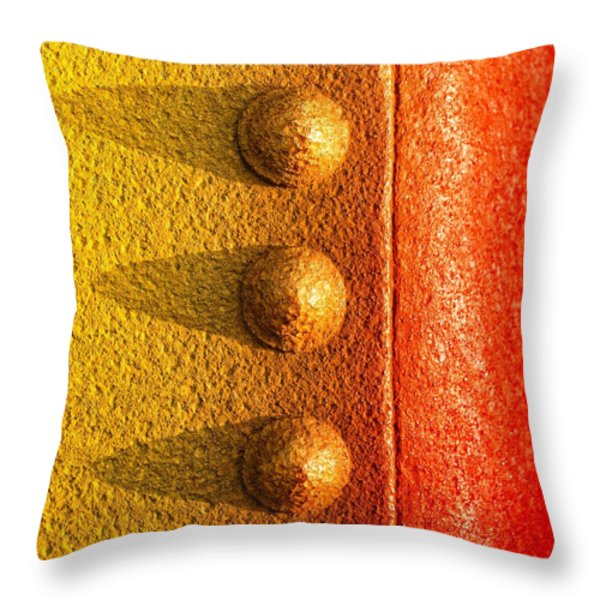 raw steel Throw Pillow by Tom Druin