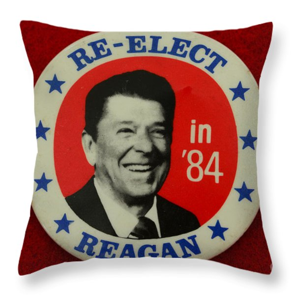 Re-Elect Reagan Throw Pillow by Paul Ward