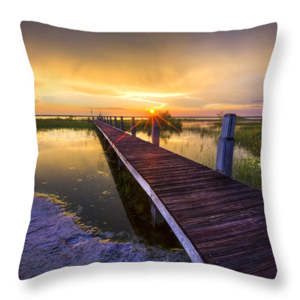Reaching Into Sunset Throw Pillow by Debra and Dave Vanderlaan