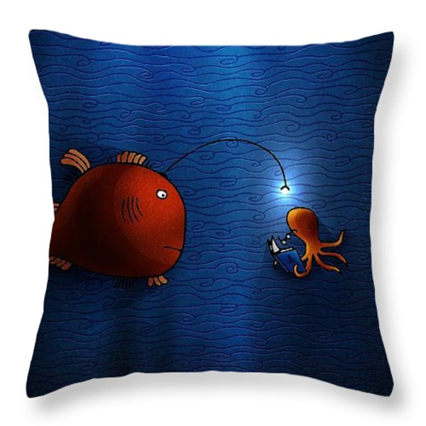 Reading Buddies Throw Pillow by Gianfranco Weiss