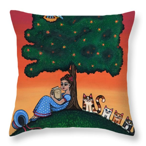 Reading Jane Throw Pillow by Victoria De Almeida