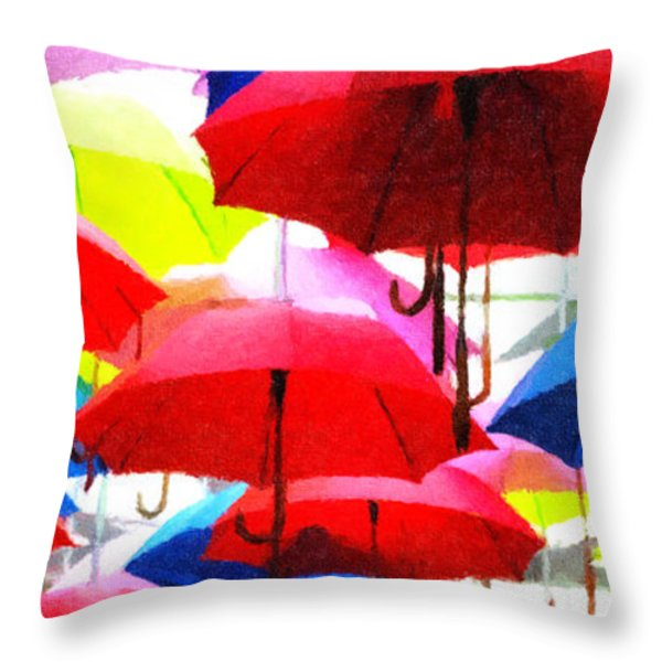 Ready For Rain Throw Pillow by Lynne Jenkins