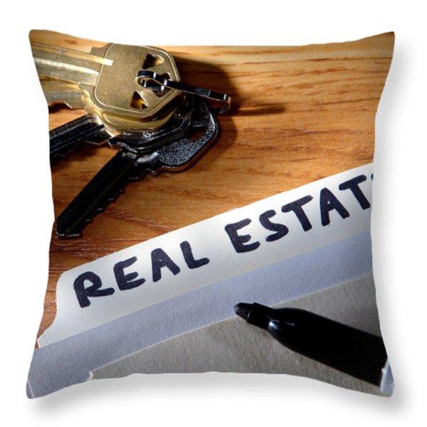 Real Estate File Folder with Marker and House Keys Throw Pillow by Olivier Le Queinec