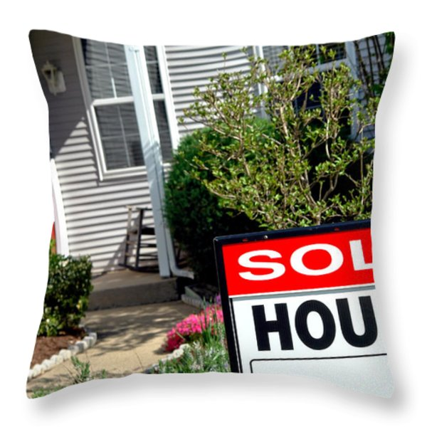 Real Estate Sold House Sign And Home For Sale Throw Pillow by Olivier Le Queinec