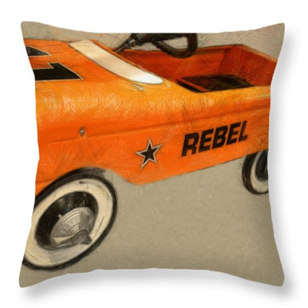 Rebel Pedal Car Throw Pillow by Michelle Calkins