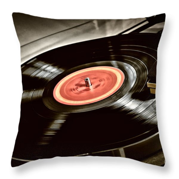 Record on turntable Throw Pillow by Elena Elisseeva