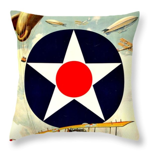 Recruiting Poster - WW1 - Air Service Throw Pillow by Benjamin Yeager