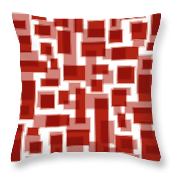 Red Abstract Patches Throw Pillow by Frank Tschakert