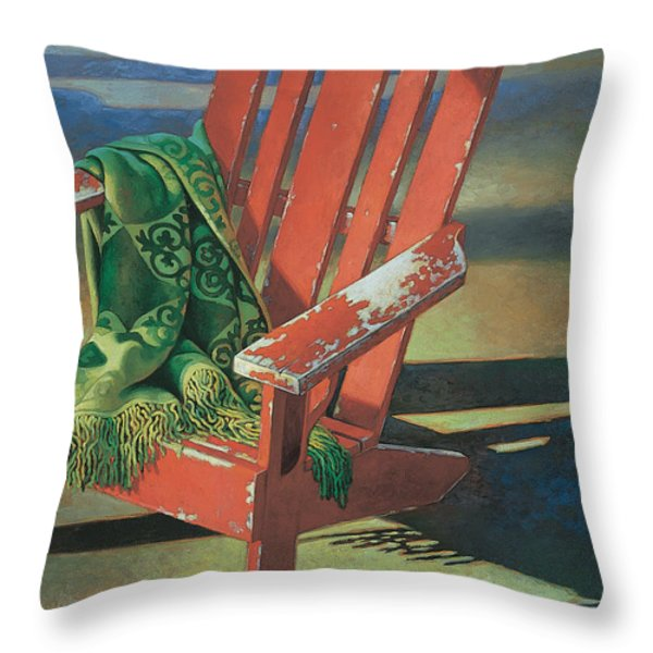 Red Adirondack Chair Throw Pillow by Mia Tavonatti