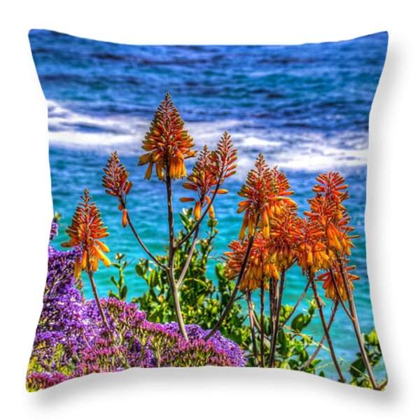 Red Aloe By The Pacific Throw Pillow by Jim Carrell