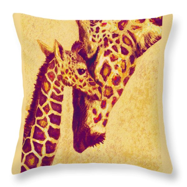 Red And Gold Giraffes Throw Pillow by Jane Schnetlage