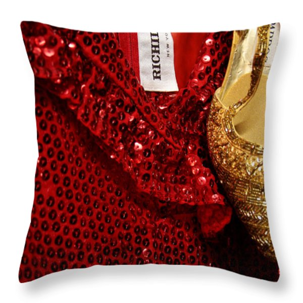 Red and gold holiday Throw Pillow by Toni Hopper