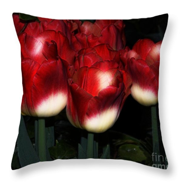Red And White Tulips Throw Pillow by Kathleen Struckle