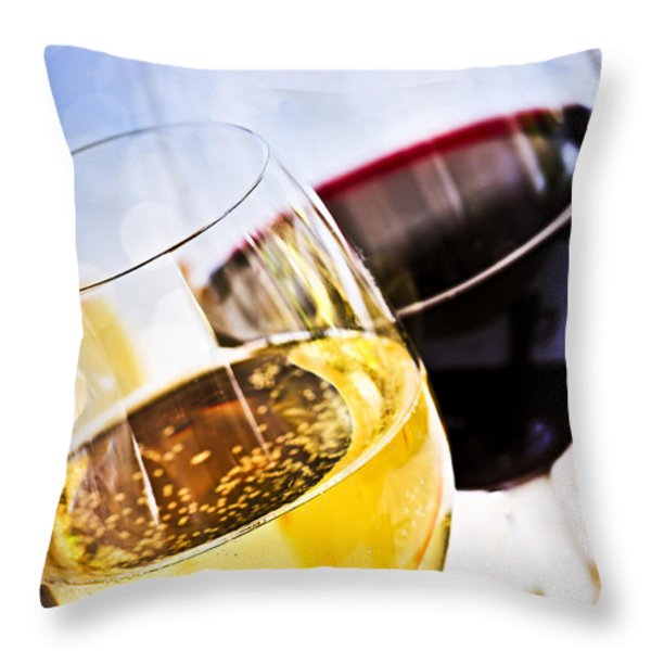 Red And White Wine Throw Pillow by Elena Elisseeva
