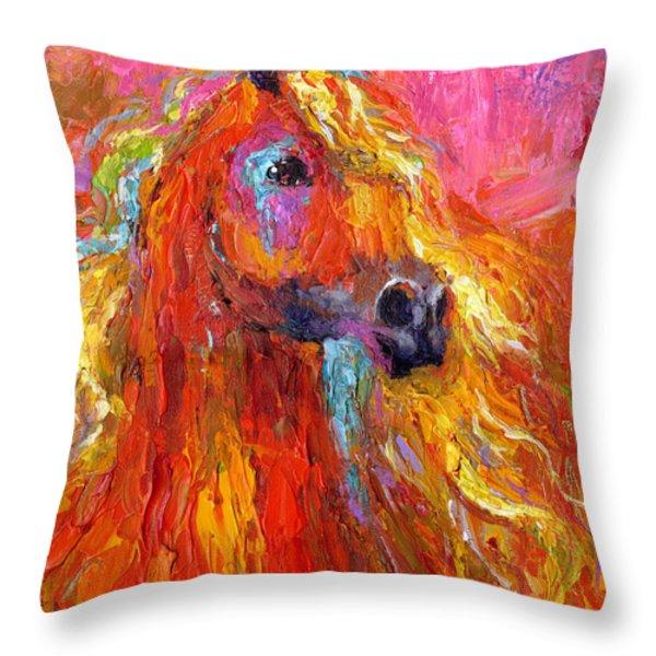 Red Arabian Horse Impressionistic Painting Throw Pillow by Svetlana Novikova