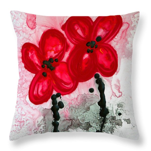 Red Asian Poppies Throw Pillow by Sharon Cummings