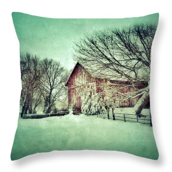 Red Barn In Winter Throw Pillow by Jill Battaglia