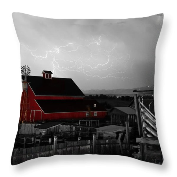 Red Barn On The Farm and Lightning Thunderstorm BWSC Throw Pillow by James BO  Insogna