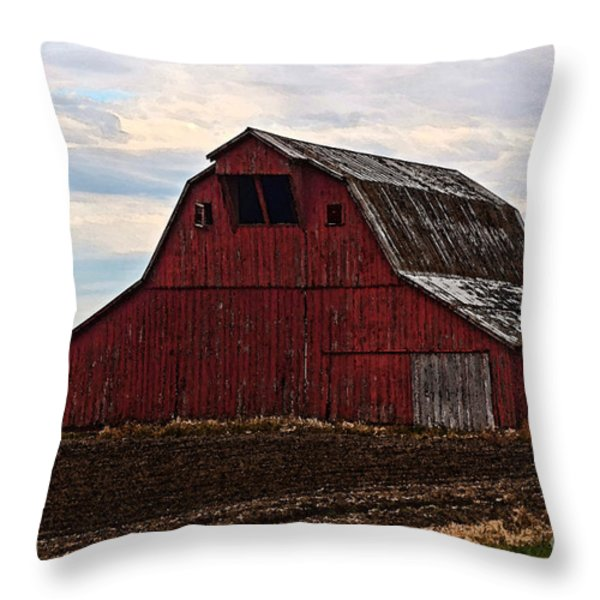 Red Barn Photoart Throw Pillow by Debbie Portwood