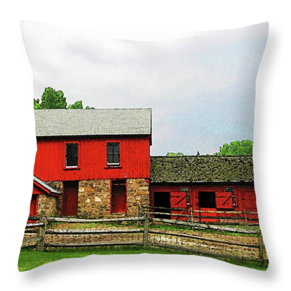 Red Barn With Fence Throw Pillow by Susan Savad