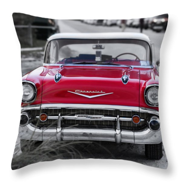 Red Belair At The Beach Standard 11x14 Throw Pillow by Edward Fielding