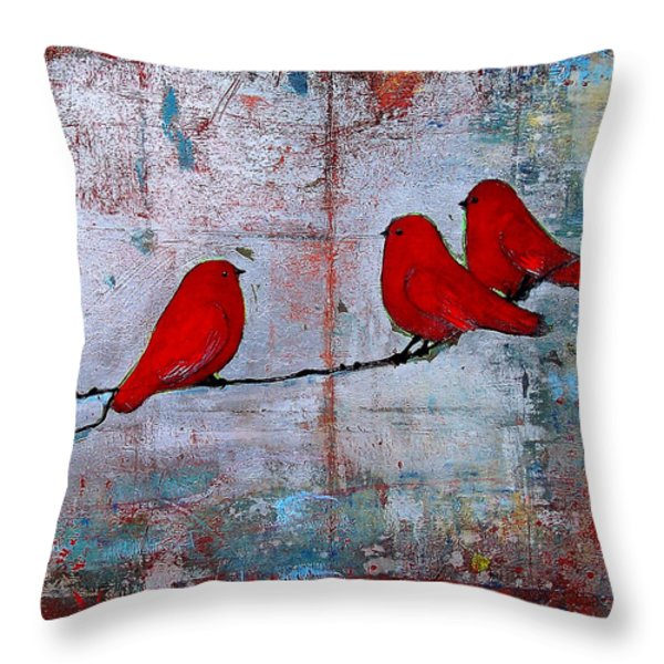 Red Birds Let It Be Throw Pillow by Blenda Studio