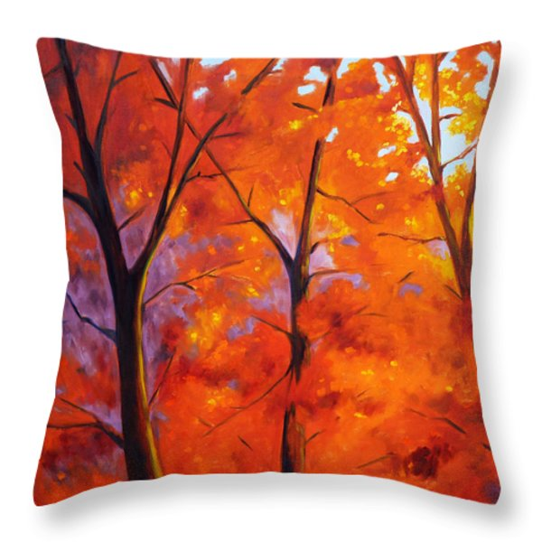 Red Blaze Throw Pillow by Nancy Merkle