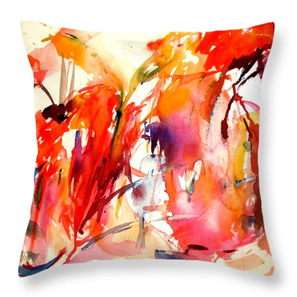 Red Blooms Throw Pillow by Tolere