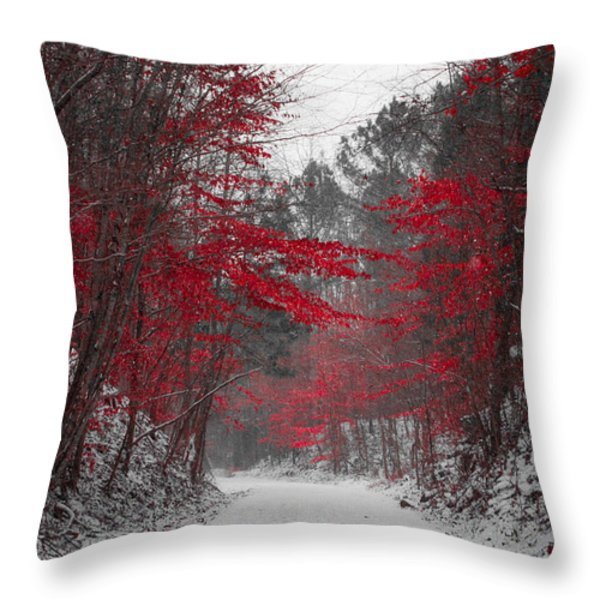 Red Blossoms Throw Pillow by Parker Cunningham