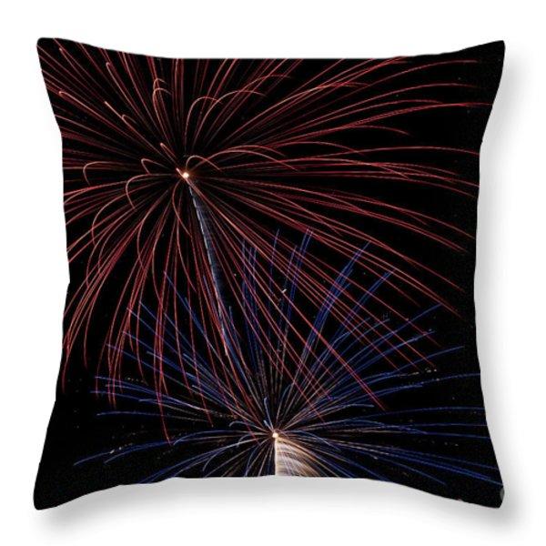 Red Blue Fireworks Throw Pillow by Jason Meyer