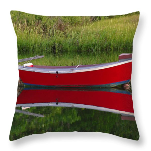 Red Boat Throw Pillow by Juergen Roth