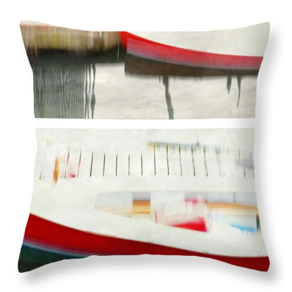 Red Boat at the Dock Throw Pillow by Patricia Strand