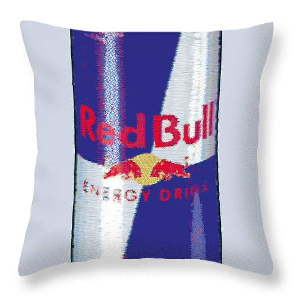 Red Bull Ode To Andy Warhol Throw Pillow by Tony Rubino
