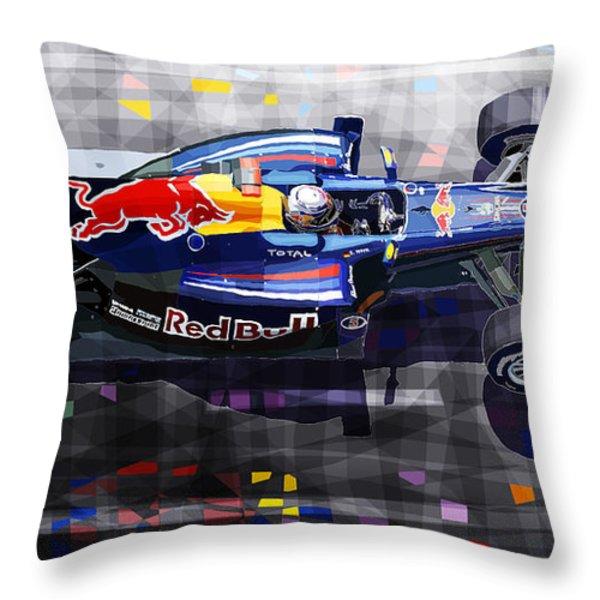 Red Bull RB6 Vettel 2010 Throw Pillow by Yuriy  Shevchuk