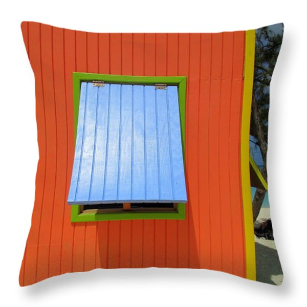 Red Cabin Throw Pillow by Randall Weidner